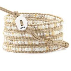 White Mix Wrap Bracelet on Petal Leather - Chan Luu