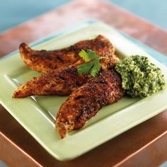 Try serving these delicious Spice-Rubbed Chicken Fingers with Cilantro Dipping Sauce at your next game-night gathering. They're much healthier - and tastier! - than the fried, fat-laden microwavable chicken fingers you find in supermarkets.