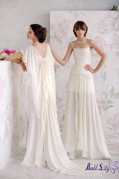 www.balllily.com Elegant Column Chiffon Papilio Wedding Dress PWD014