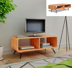 Retro TV Storage Cabinet Brown Coffee Table Wooden Living Room Furniture Shelf