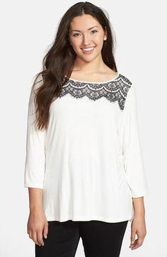 Sejour Lace Trim Tee (Plus Size). #fashion #women #plus size fashion for women