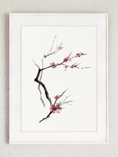 Cherry Blossom Tree Pink Flowers Watercolor by ColorWatercolor