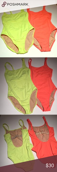 Jcrew Bathing Suits (2) Size 10 long torso Coral and fluorescent yellow one piece bathing suits. J. Crew Swim One Pieces