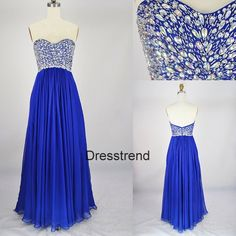 Royal blue A-line prom dress with rhinestone bodice.