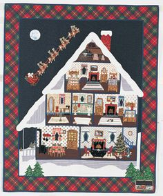 Quilt by Linda Cantrell, 1996Size: 43' x 53'Linda recreated Clement Moore's holiday poem in quilt form. This is one of the few of her quilts...