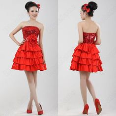 Discount China china wholesale Shinning Sequin Empire Tiered Flower Ball Gown Short Wedding Dress [31038] - US$39.99
