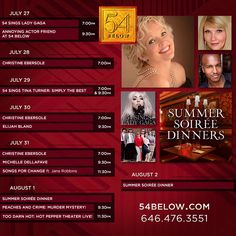 Week of July 27th, 2015 performance schedule. Click to buy tickets.