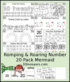 Free Romping & Roaring Number 20 #2 Mermaid Theme - 39 pages of printables with coloring, playdough mats, tracing, counting, counting books, puzzles and more - 3Dinosaurs.com