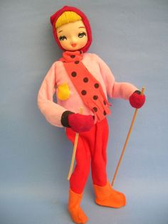 """Another beauty (on ebay May 2014) with a flawless face! Vintage CLOTH POSE DOLL Winter Ski w/Poles Made in Japan Big Anime Eyes 12"""""""