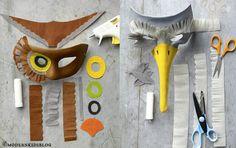 Maschere di carnevale uccello:  Seguendo attentamente le immagini-tutorial e partendo da una vecchia mascherina di carnevale semplice munita di elastici, procuratevi della carta crespa e ritagliatela a strisce, cerchi, arrotolatela creando dei tubicini! Usate la colla a caldo e come potete vedere anche se sembrano complicatissime, scomposte in semplici forme geometriche sono davvero facilissime da realizzare!  http://www.acomealice.it/2013/02/idee-per-costumi-di-carnevale-fai-da-te/#