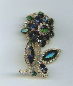 Dimensional signed Hobe Rhinestone pin dated 1955