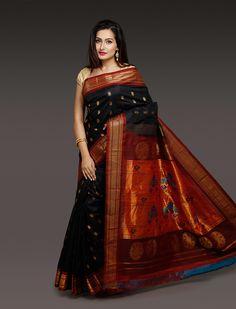 Urvi Black Golden Booti Paithani Silk Saree