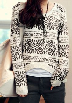 Geo-Patterned Sweater - Top