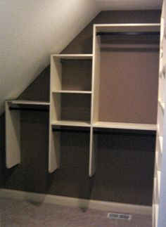Closet solutions for slanted ceiling Closets Pinterest