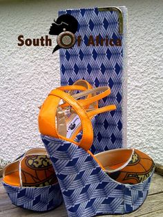 Items similar to Cannary Shwe-Shwe Wedge on Etsy African Accessories, Craft Accessories, Fashion Accessories, African Print Fashion, Africa Fashion, Fashion Prints, African Traditional Wear, African Design, African Style