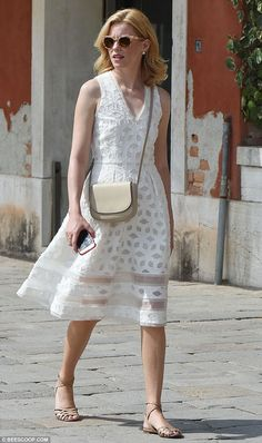Elizabeth Banks is effortlessly chic in a white sundress in Venice