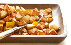 Roasted spiced pears and sweet potato. This would be good for a week of lunches along with some greens and beans or tofu or nuts/seeds (especially pumpkin seeds!