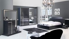 White Bedroom Furniture Sets & Black Bedroom Furniture Sets — Very Great Interior Idea Bedroom Bed Design, Bedroom Decor, Bedroom Ideas, White And Silver Bedroom, Cama Queen, Black Bedroom Furniture, Woman Bedroom, Bedroom Vintage, Trendy Bedroom