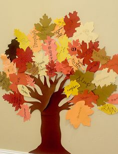 Thankful Tree-would be wonderful for all family to do at Thanksgiving dinner gathering. Put trunk on big posterboard. Cut several leaves. Put out with pens and scotch tape for people to add throughout the day