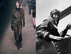 Amelia Earhart, première femme à traverser l'océan Atlantique en solitaire (à droite, dans les années 30), inspiratrice de Schiaparelli pour sa combinaison de survie en 1939, et d'Hermès (à gauche) cet hiver.