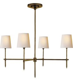 Visual Comfort Thomas OBrien Bryant 4 Light Chandelier in Hand-Rubbed Antique Brass TOB5003HAB-NP #visualcomfort #lightingnewyork #lighting