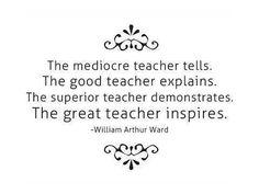 The mediocre teacher tells.  The good teacher explains.  The superior teacher demonstrates.  The great teacher inspires.  - William Arthur Ward