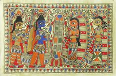 Rama and Sita's Wedding (Madhubani Folk Art on Paper - Unframed)