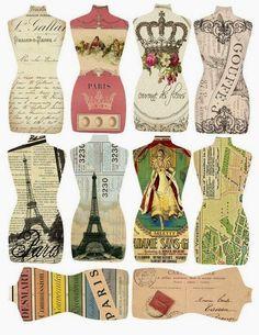 Shabby chic cards printables dress form Ideas for 2019 Images Vintage, Vintage Tags, Vintage Labels, Vintage Ephemera, Vintage Paper, Vintage Sewing, Printable Labels, Printable Paper, Free Printables