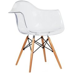 2xhome Eames Chair Armchair With Arm Clear Transparent Natural Wood Legs Dining