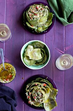 Steamed Artichoke topped with Italian Style Tomato Salsa Verde - #recipe at cali-zona.com