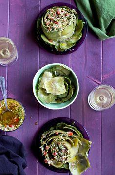 Steamed Artichoke topped with Italian Style Tomato Salsa Verde - #recipe at cali-zona.com