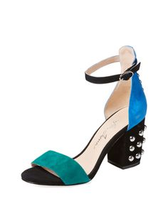 Astor Colorblocked Suede Sandal from Summer Trend: Block-Heel Sandals on Gilt