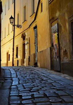 Bratislava's Old Town street near the Michael's Gate. gorgeous cobblestones and lovely color contrast. I worked not far from there! Great Places, Beautiful Places, Places To Visit, European River Cruises, Bratislava Slovakia, Into The West, Central Europe, Eastern Europe, Countries Of The World