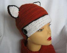 """Купить КОМПЛЕКТ """"ЛИСА"""" шапка, шарф, митенки вязаный демисезон - рыжий, шапка вязаная зимняя"""