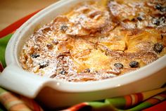 Bread and Butter Pudding, made with rich custard, almonds, and candied lemon peel.
