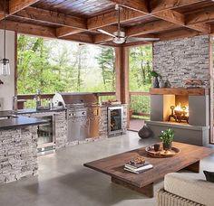 Eldorado Stone - Outdoor Kitchen and Living Space. Eldorado Stone Stacked Stone in Silver Lining Outdoor Living Rooms, Outdoor Spaces, Living Spaces, Outdoor Patios, Backyard Pavilion, Backyard Patio Designs, Patio Ideas, Outdoor Kitchen Patio, Outdoor Kitchen Design
