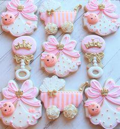 Baby shower girl cupcakes sugar cookies ideas for 2019 Fancy Cookies, Iced Cookies, Cute Cookies, Cupcake Cookies, Sugar Cookies, Crown Cookies, Baby Shower Cupcakes For Girls, Girl Cupcakes, Baby Shower Parties