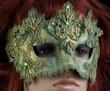 Half-Mask, green with jewels