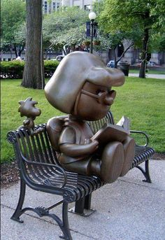 marcie and woodstock statues.   st. paul, mn.