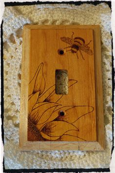Sunflower and Bumble Bee Single Switch Plate Cover Wood Burned Pyrography by BeautifulPursuits on Etsy