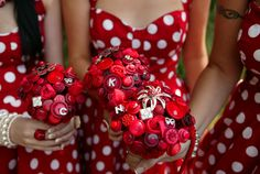 Polka dot bridesmaid dresses. Super cute, especially if you got a roaring 20's or pin up theme.