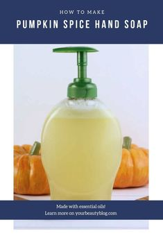 Do you love pumpkin spice everything? Try this DIY liquid hand soap ith essential oils. How to make homemade liquid soap ith castile soap and a carrier oil in pumpkin spice blend for fall. This natural soap is great for the kitchen or bathroom. Home made cheap gift ideas for friends. Use this to refil your pretty soap dispenser or give as gifts. #pumpkinspice #pumpkin #fall #soap Diy Pumpkin, Pumpkin Spice, Liquid Hand Soap, Soap Recipes, Diy Skin Care, Soap Making, Diy Soaps, Homemade Soaps, Homemade Beauty