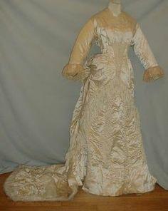 1870 bustle dresses   1870's Wedding (?) Dress   Bustle Gowns 1870's
