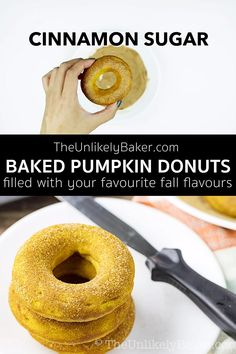 Baked pumpkin donuts with cinnamon sugar are soft, tender, delicious and so easy to make. You'd want to enjoy them with your coffee or tea all season long. No donut pan? No problem. Visit the blog to read about hacks on how to make donuts with the baking pans you have at home.