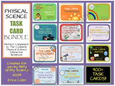 Physical Science Task Card Bundle - 400+ Task Cards! from Nitty Gritty Science on TeachersNotebook.com -  (165 pages)  - Over 400 Physical Science Task Cards that students can use to review the material they've learned all year long!  Pairs perfectly with The Complete Physical Science Interactive Notebook.