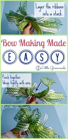 Simplest bow ever! Simple tutorial for a simple bow! It is the perfect bow for wreaths, a Christmas Wreath Crafts, Ribbon Crafts, Diy Wreath, Diy Crafts, Wreath Bows, Wreath Ideas, Ribbon Wreaths, Yarn Wreaths, Tulle Wreath