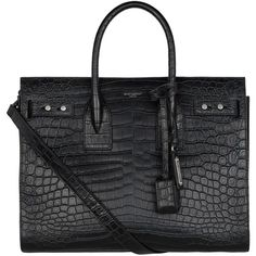 Saint Laurent Small Sac De Jour Croc-Embossed Tote (€2.455) ❤ liked on Polyvore featuring bags, handbags, tote bags, leather tote bags, hand bags, leather handbags, purse tote and leather purses