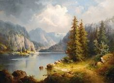 Adolf Stademann - Artist, Fine Art Prices, Auction Records for Adolf Stademann Landscape Art, Landscape Paintings, River Painting, Hudson River School, Mountain Paintings, Traditional Paintings, Fine Art, Lovers Art, Beautiful Landscapes