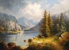 Adolf Stademann - Artist, Fine Art Prices, Auction Records for Adolf Stademann Landscape Concept, Fantasy Landscape, Landscape Art, Landscape Paintings, River Painting, Romantic Paintings, Mountain Paintings, Traditional Paintings, Fine Art