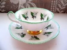 Vintage Rosina Bone China Tea Cup and Saucer/ Lily of the Valley/Lime Green Accent
